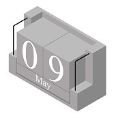 May 9th date on a single day calendar. Gray wood block calendar present date 9 and month May isolated on white background. Holiday. Season. Vector isometric illustration