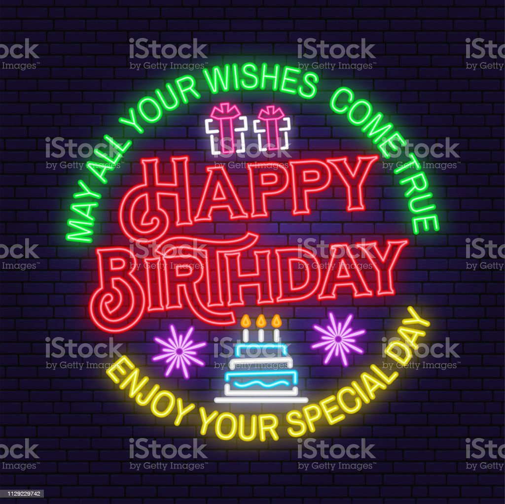 May All Your Wishes Come True Neon Sign Happy Birthday Stamp