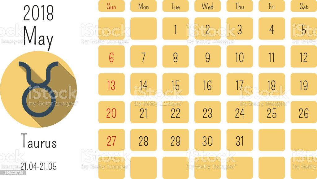 May Calendar 2018 With Horoscope Signs Zodiac Symbols Flat Colored