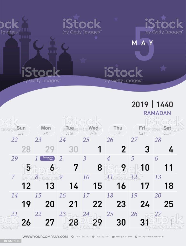 05 May Calendar 2019 Hijri 1440 To 1441 Islamic Design