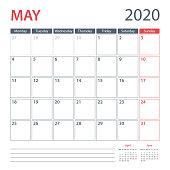 2020 May Calendar Planner Vector Template. Week starts Monday