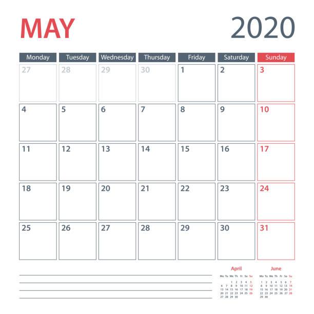 bildbanksillustrationer, clip art samt tecknat material och ikoner med 2020 maj kalender planner vektor mall. vecka startar måndag - maj