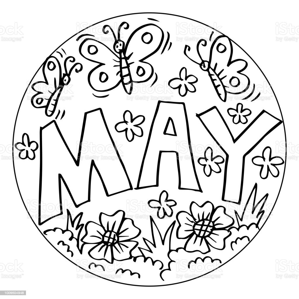 May Coloring Pages For Kids Keywords Language English Stock Vector