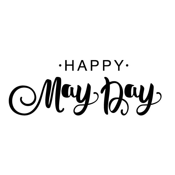 may day. hand lettering for your design card with the inscription. the concept of the environment. vector design for banner, poster or greeting card. - may day stock illustrations, clip art, cartoons, & icons