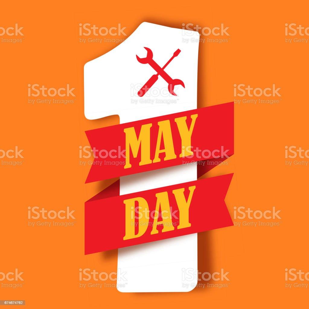 Día de mayo. Día del trabajo. Número uno y la cinta - ilustración de arte vectorial