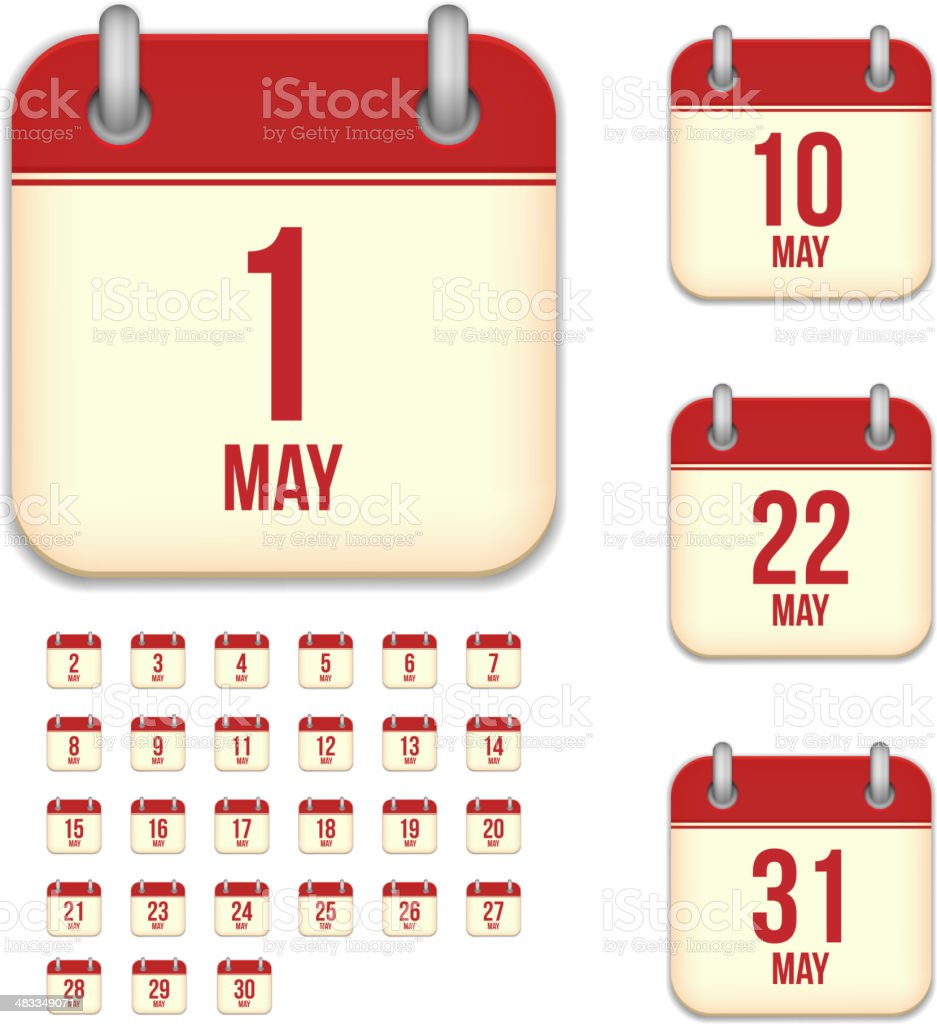 May days. Vector calendar icons royalty-free may days vector calendar icons stock illustration - download image now