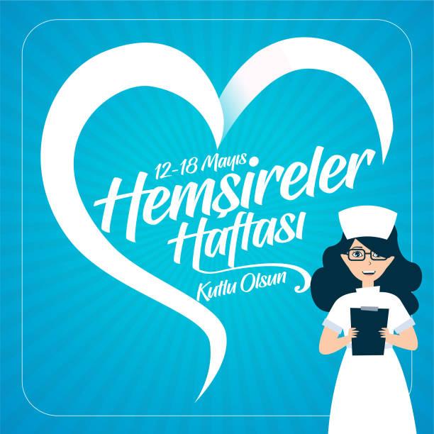 12-18 May Happy World Nurses Day, Greeting Card. Post. Translation: May 12. International Nurses Day Greeting Card. Post. 12-18 Mayıs Dünya Hemşireler Günü Kutlu Olsun, Tebrik Kartı. Post. Translation: 12 May. International Nurses Day Greeting Card. male nurse stock illustrations