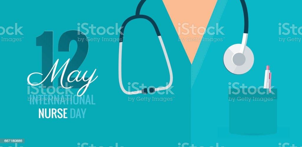 12 am Mai. Internationaler Krankenschwester-Tag Hintergrund. – Vektorgrafik