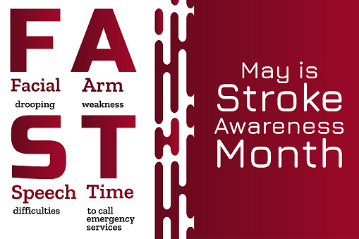 May is National Stroke Awareness Month. Stroke symptoms. Mnemonic concept. Template for background, banner, card, poster with text inscription. Vector EPS10 illustration.