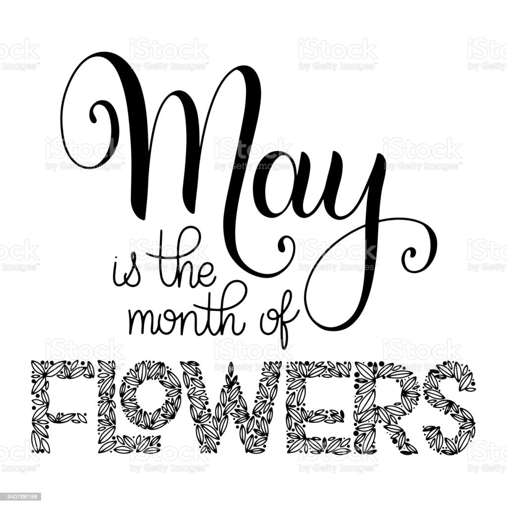 Wunderbar Blumen Mai Referenz Von Ist Der Monat Der Schriftzug Lizenzfreies Ist