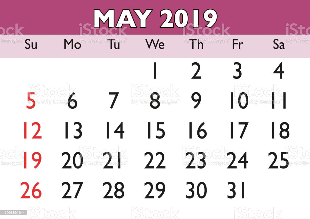 Calendario Vector 2019.May Month Calendar 2019 English Usa Stock Illustration Download Image Now