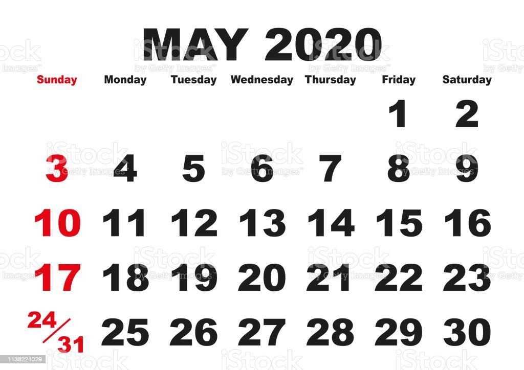 Ilustración de Mes De Mayo Calendario 2020 Inglés Eeuu y más ...