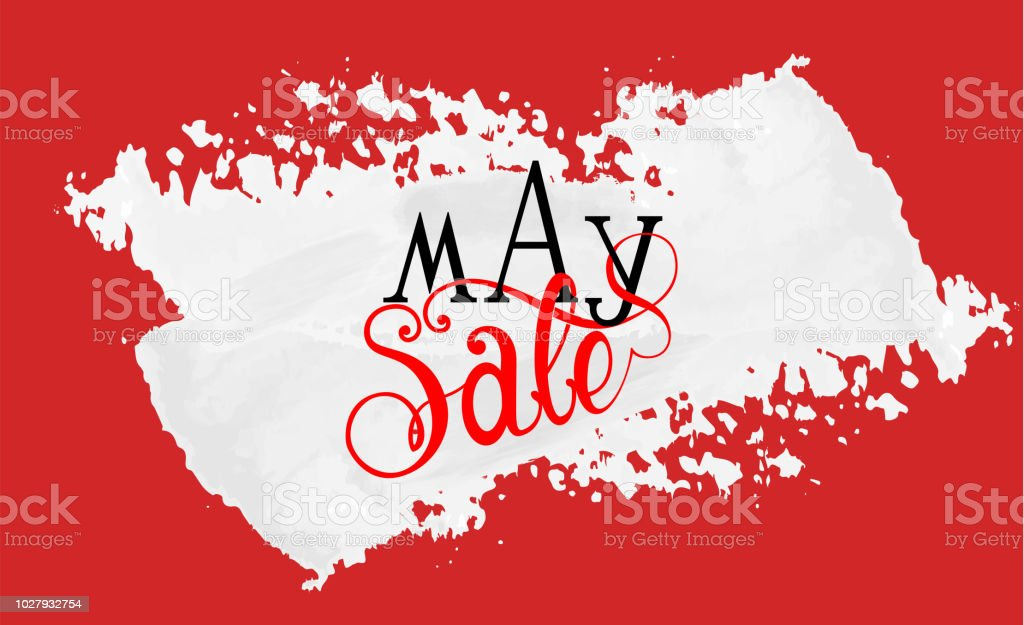 May Sale text made with custom made font and lettering on white...