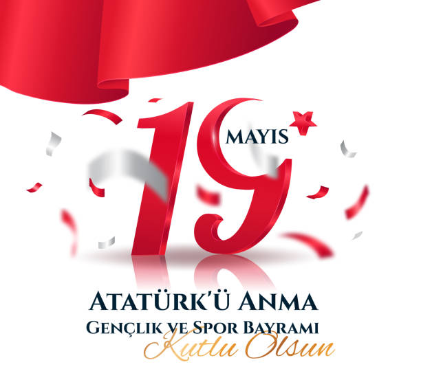 19 May Turkish Commemoration of Ataturk 19 May Beginnig of the Turkish war of Independence, Youth and Sports Day holiday celebration card design. Vector Illustration. Trranslation Commemoration of Ataturk Youth and Sports Day. 1910 1919 stock illustrations