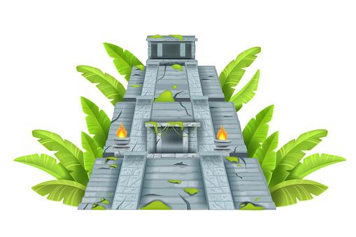 Maya ancient pyramid, Aztec temple ruin, vector cartoon landmark illustration isolated on white.