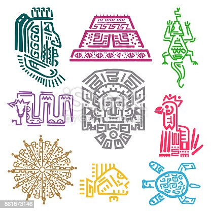 Maya And Aztec Symbols Stock Vector Art More Images Of American
