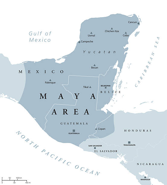 maya area political map vector art illustration
