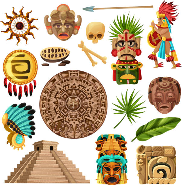 maya cartoon set Colorful mexican decorative icons et with  with symbols of traditional  mayan culture history and religion isolated cartoon vector illustration ancient civilization stock illustrations