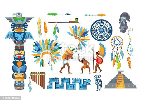 Maya civilization item set. Tribal rituals, feathers, decoration, Aztecs. History concept. Vector illustrations can be used for tribe, ethnicity, culture
