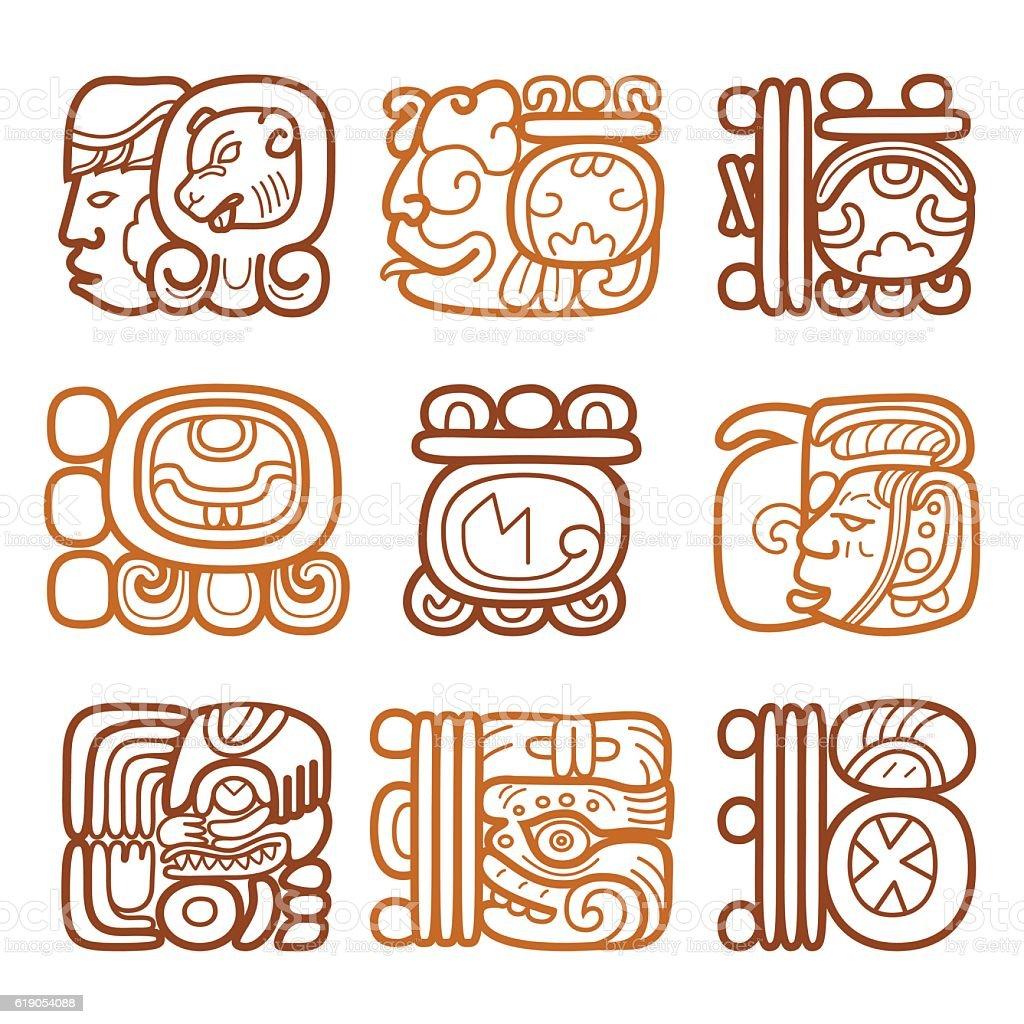 Maya glyphs, writing system and languge vector design vector art illustration