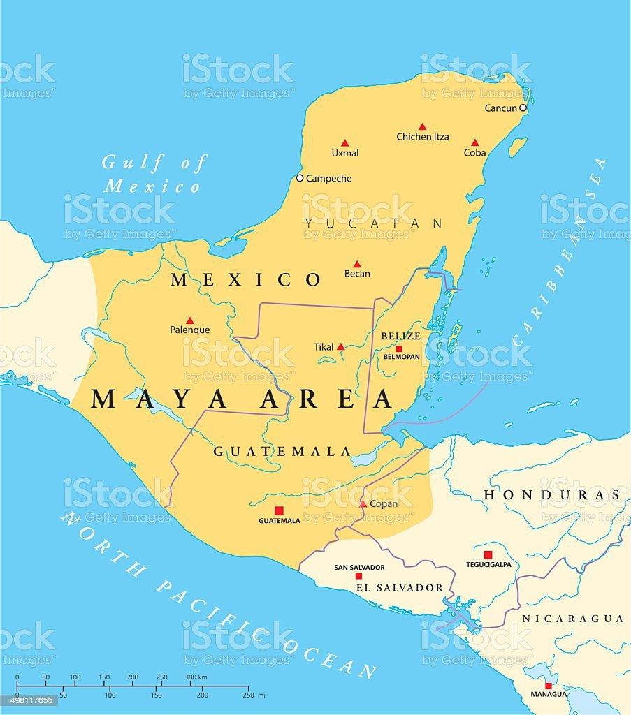 Maya High Culture Area Map vector art illustration