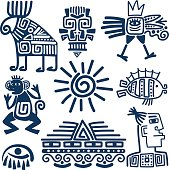 Maya or inca blue totem icons