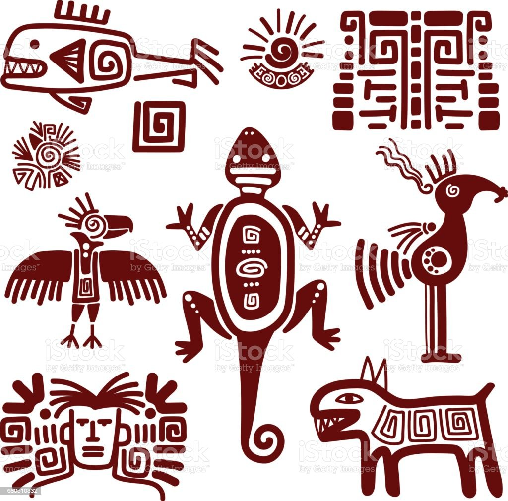 Maya or indian traditional signs vector art illustration