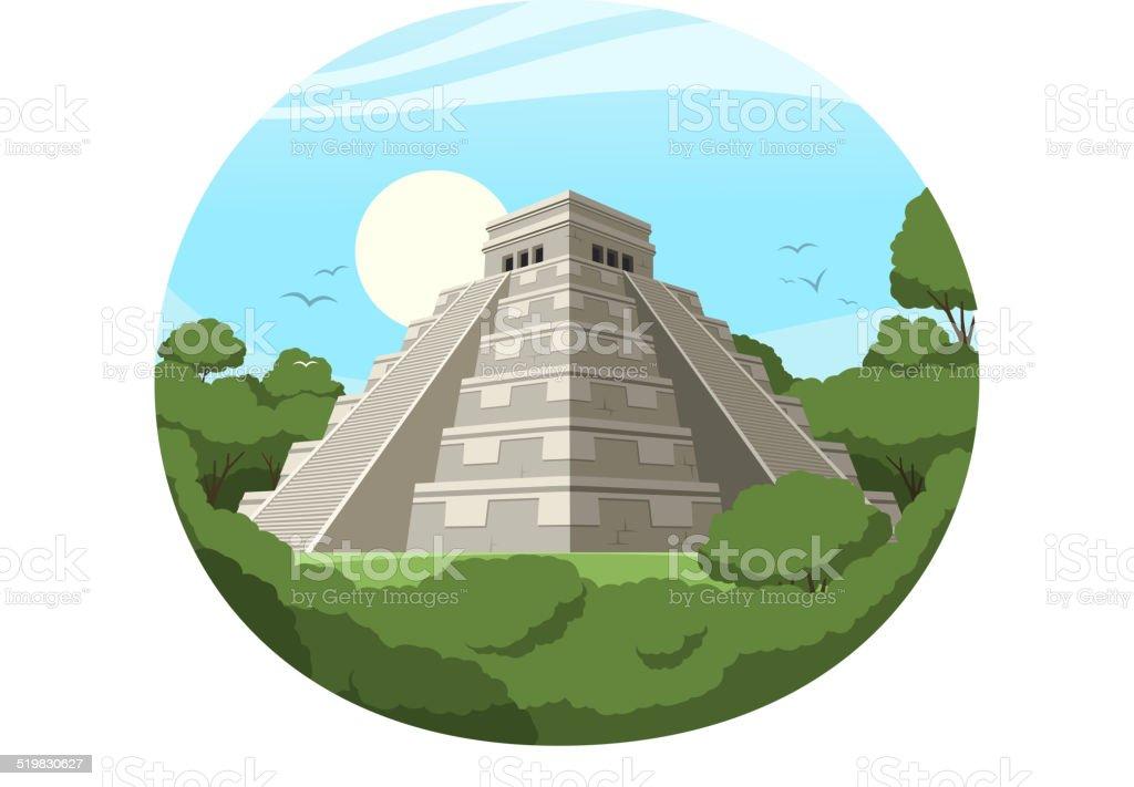 Maya Pyramide alte mexikanische Stone Ruin – Vektorgrafik