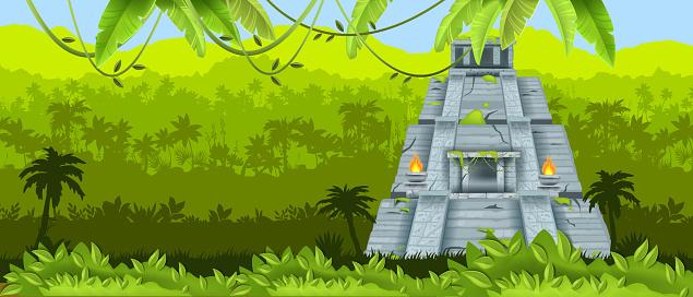 Maya vector pyramid, Aztec ancient temple, Mexican jungle landscape, rainforest silhouette, fire, liana.