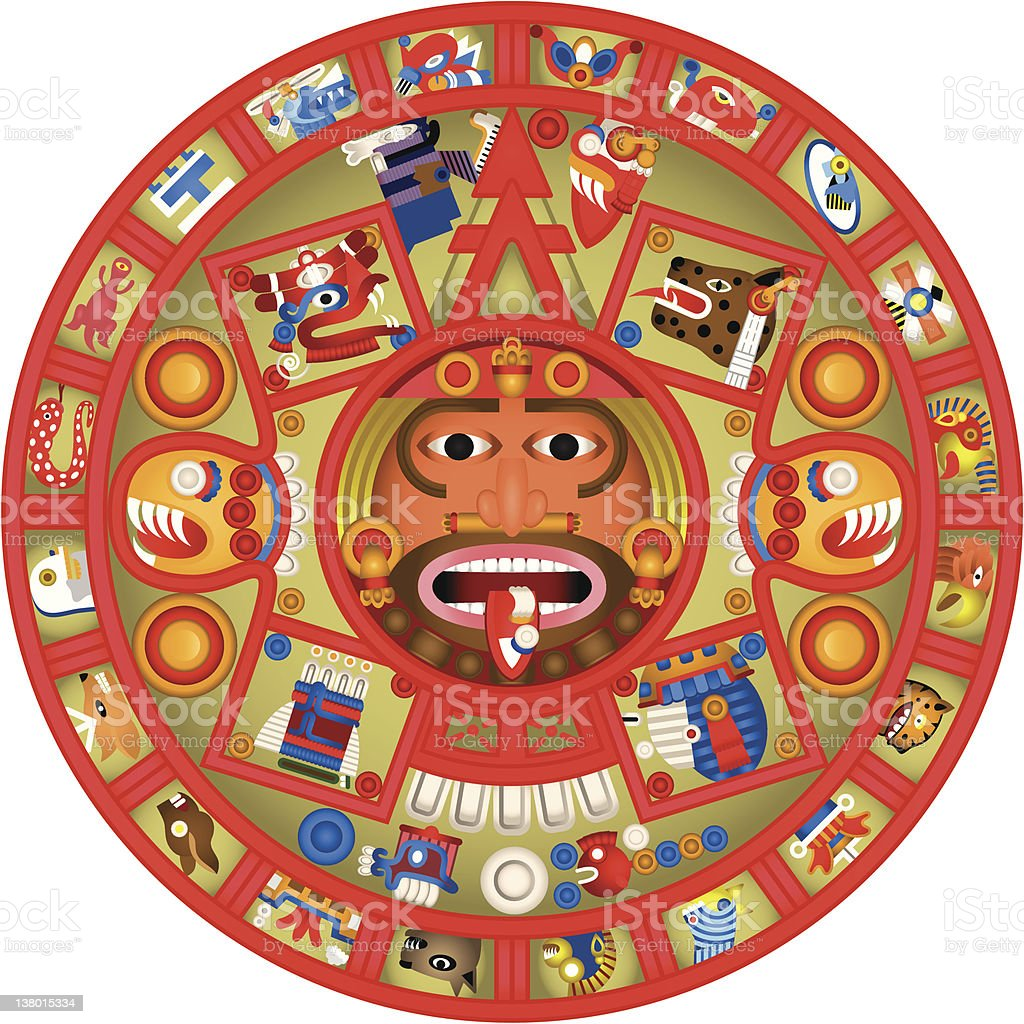mayan calendar colour illustration royalty free stock vector art