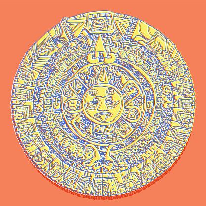 Mayan Calendar - Flat Design - Hand Drawn Mayan Calendar - Line Drawing