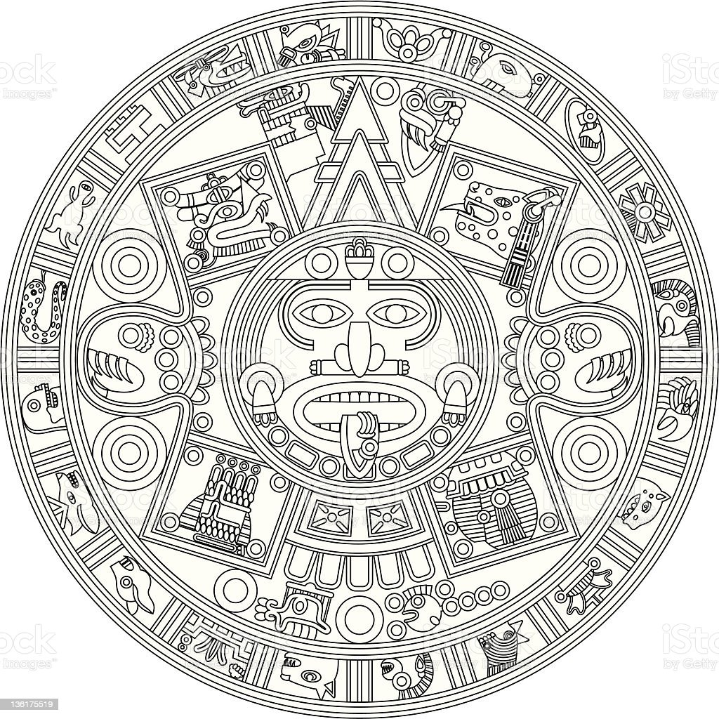 Mayan Calendar Line Illustration royalty-free stock vector art