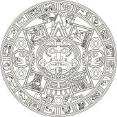Mayan Calendar Line Illustration