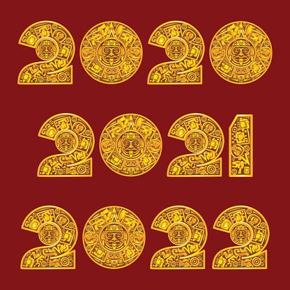 Mayan calendar style illustration
