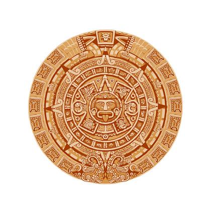 Mayan calendar vector ancient mexican round stone