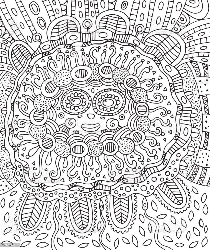 Ilustración de Rostro Maya Página Para Colorear De Doodle Para ...