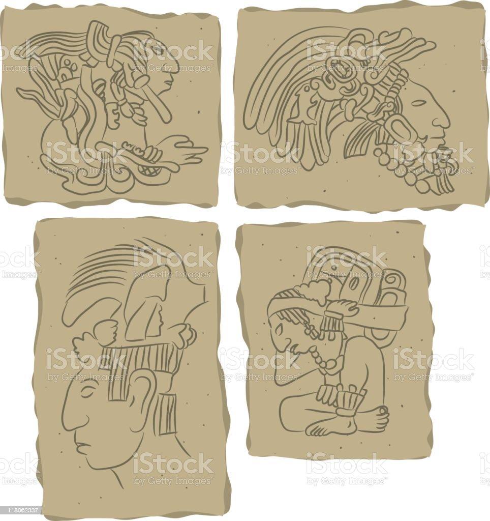 Mayan glyphs vector art illustration