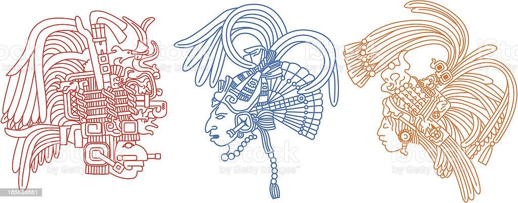 Mayan heads 1 vector art illustration