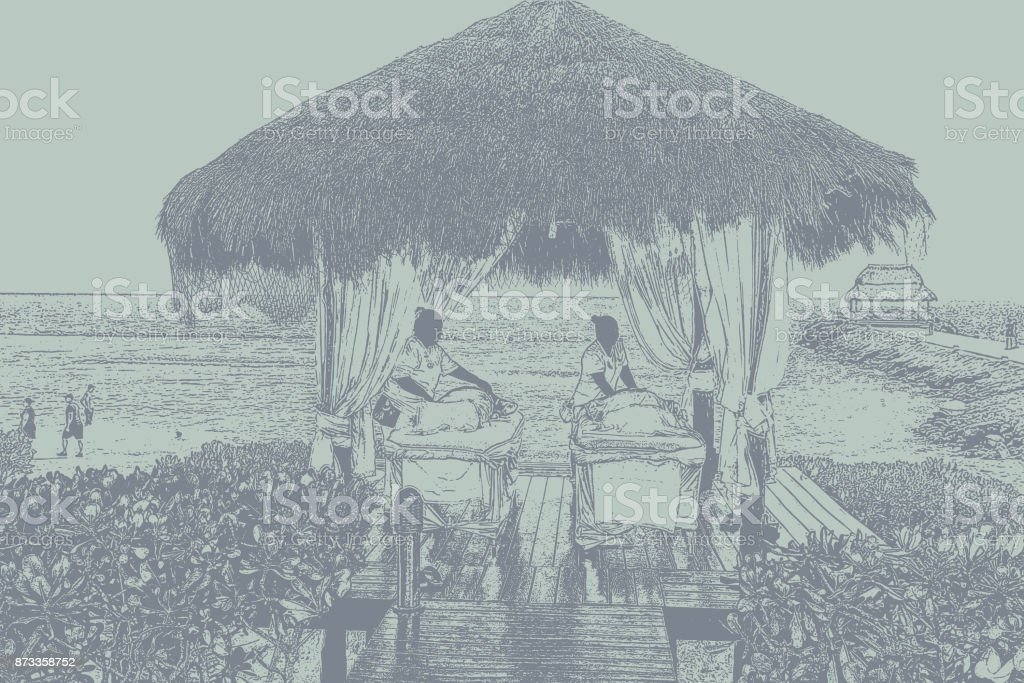 Mayan massage at a Mexican tourist resort with a view of the Caribbean Sea vector art illustration