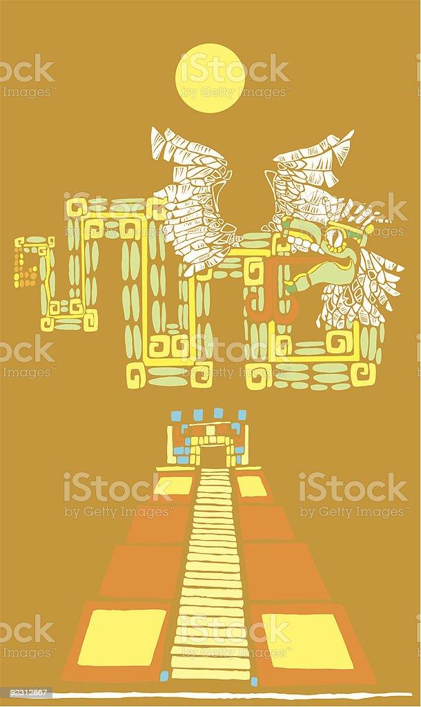 Mayan Pyramid and Kukulcan vector art illustration