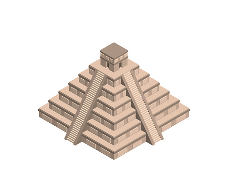 Mayan pyramid. Isolated on white background. 3d Vector illustration.