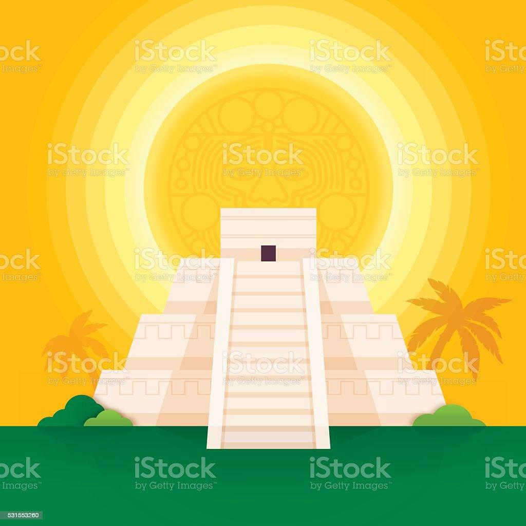 Pirâmide Maia - ilustração de arte em vetor