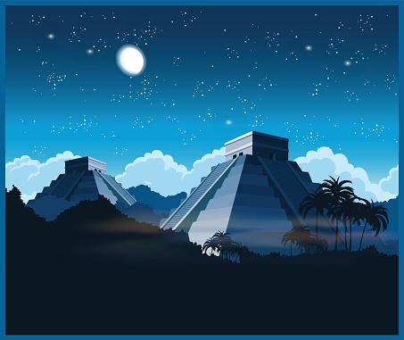 Mayan pyramids at night