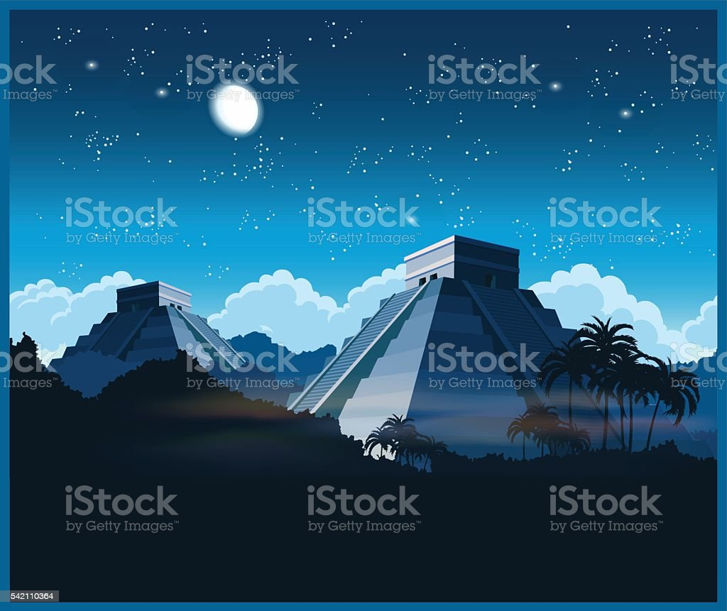 Mayan pyramids at night vector art illustration