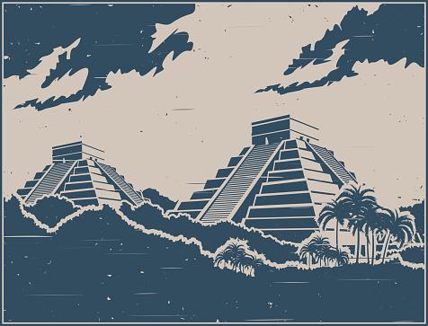 Mayan pyramids retro poster