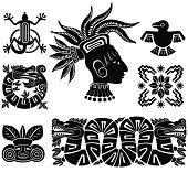 Mayan silhouette illustrations