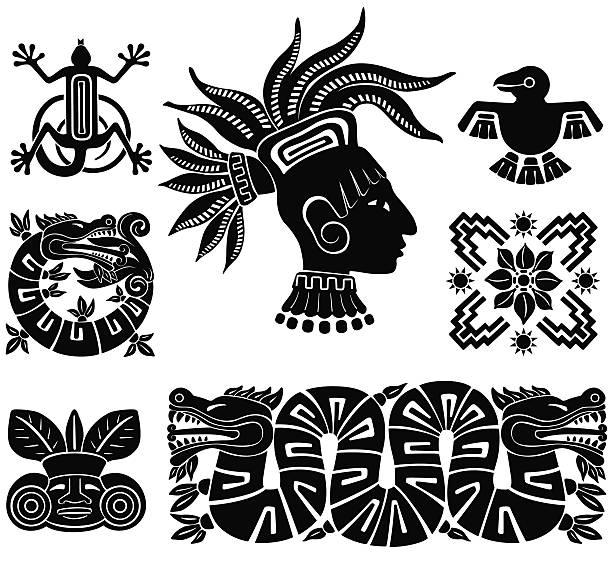 Mayan silhouette illustrations vector art illustration