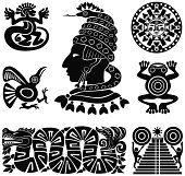 Mayan silhouettes illustration