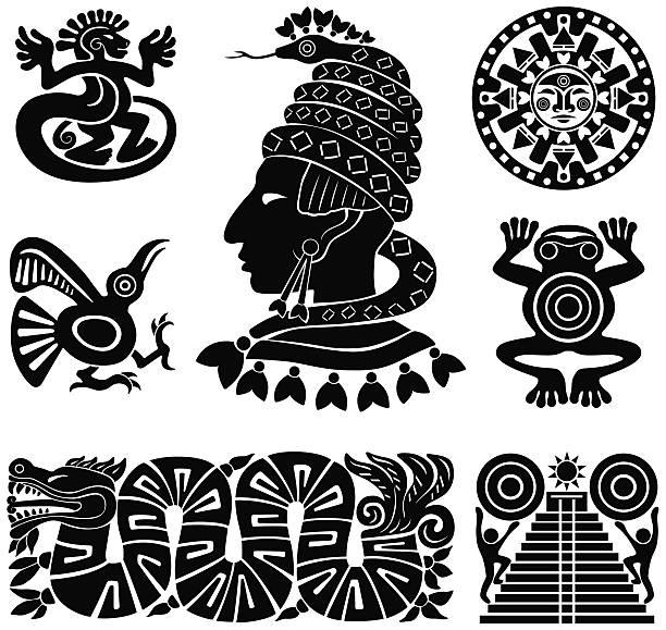 Maya siluetas ilustración - ilustración de arte vectorial