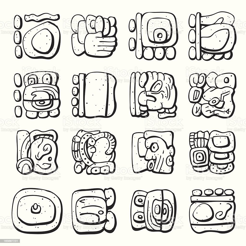 Mayan Symbol Lineart Stock Vector Art More Images Of Ancient